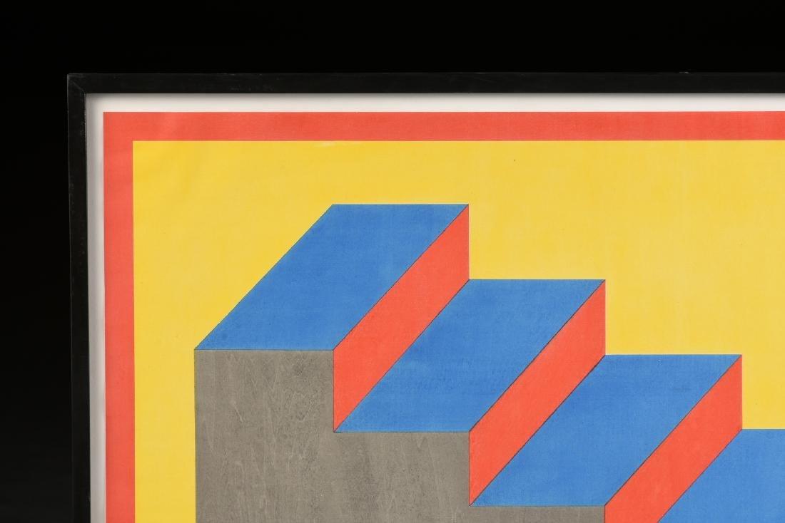 """AN OP ART STYLE SILKSCREEN PRINT, """"Descending Stairs,"""" - 5"""