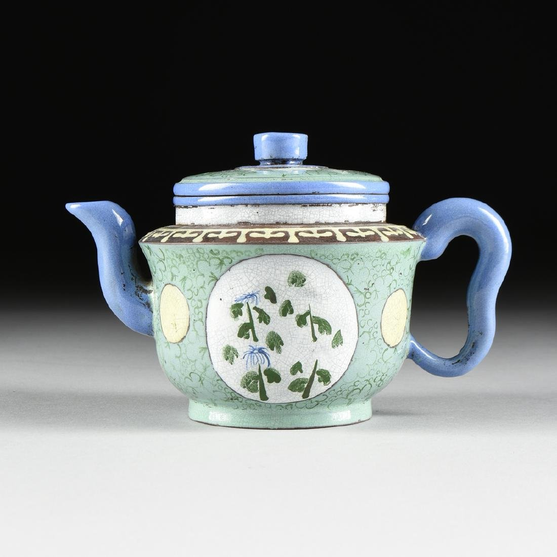 A CHINESE YIXING POLYCHROME PALE GREEN GROUND ENAMELED - 5