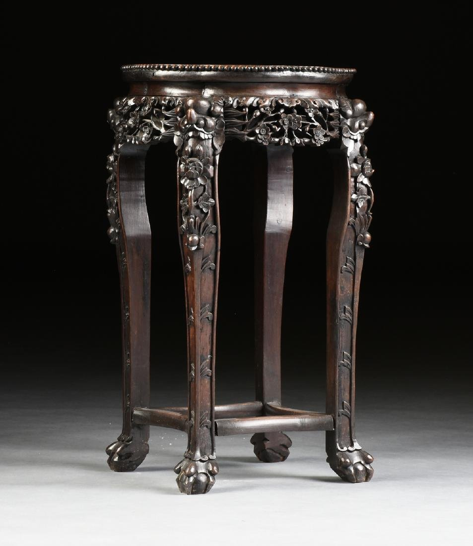 A CHINESE MARBLE TOPPED AND CARVED HARDWOOD STAND, - 2