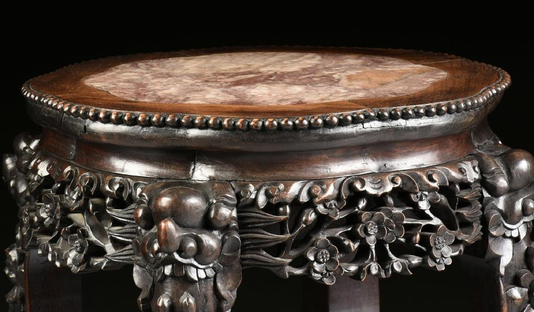 A CHINESE MARBLE TOPPED AND CARVED HARDWOOD STAND, - 3