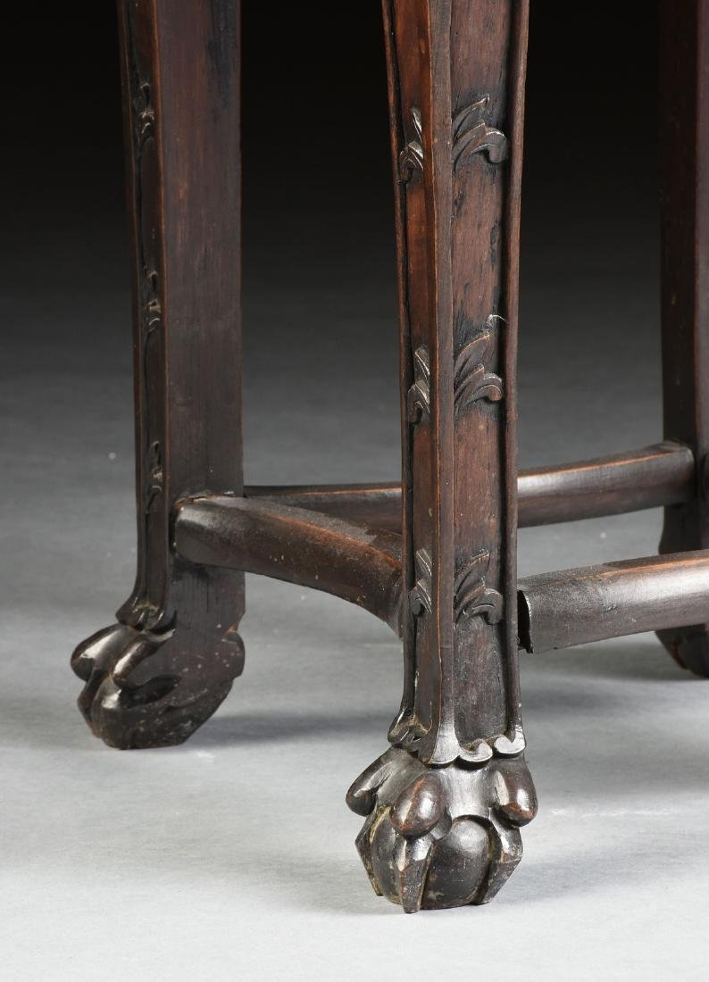 A CHINESE MARBLE TOPPED AND CARVED HARDWOOD STAND, - 5