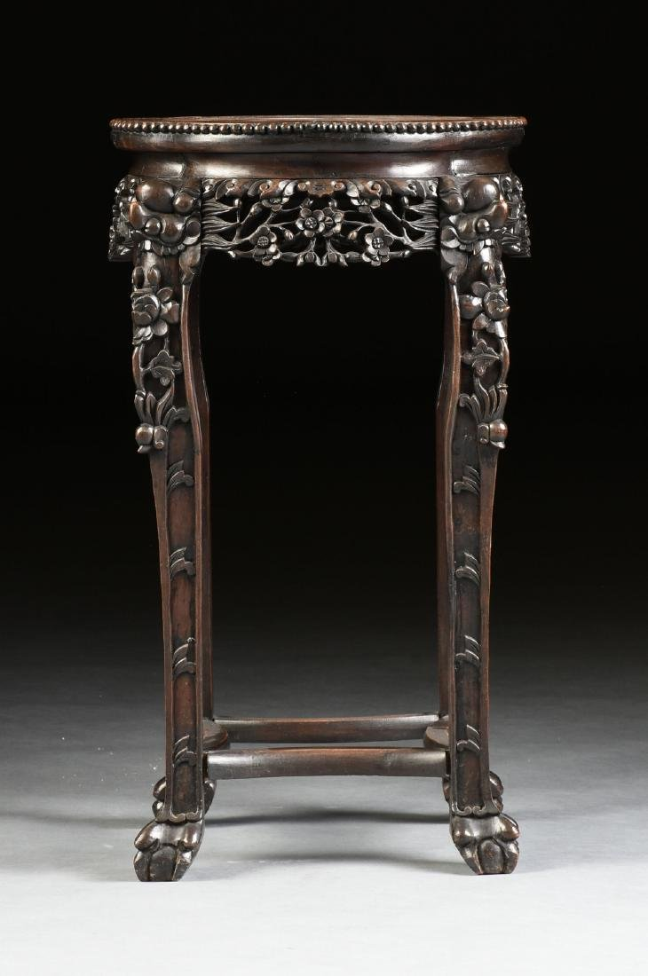 A CHINESE MARBLE TOPPED AND CARVED HARDWOOD STAND, - 6