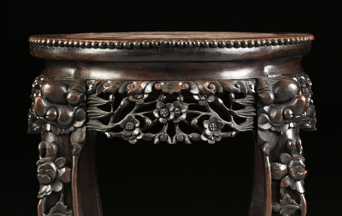 A CHINESE MARBLE TOPPED AND CARVED HARDWOOD STAND, - 7