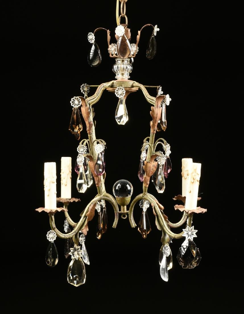 A LOUIS XV STYLE WROUGHT IRON AND CUT GLASS MOUNTED - 2