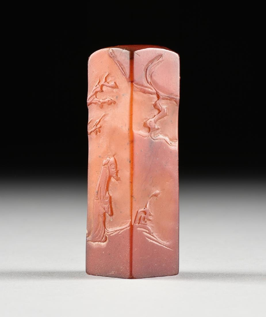 A CHINESE CARVED RED HARDSTONE SQUARE SEAL, POSSIBLY - 2