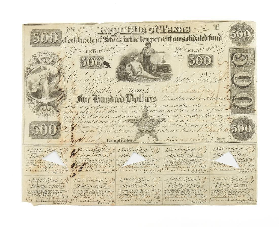A REPUBLIC OF TEXAS $500 BOND,