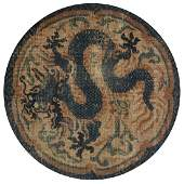 AN ANTIQUE CHINESE NINGXIA STYLE BLUE GROUND DRAGON