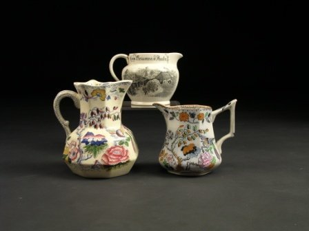 17: A GROUP OF THREE ENGLISH TRANSFER DECORATED CREAM P