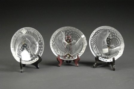 19: A SET OF THREE LALIQUE SATIN TO CLEAR GLASS POISSON