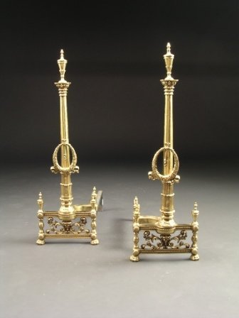 25: A PAIR OF NEO CLASSICAL STYLE BRASS ANDIRONS,  each