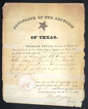 A REPUBLIC OF TEXAS CONSULAR DOCUMENT DATED NEW ORLEANS