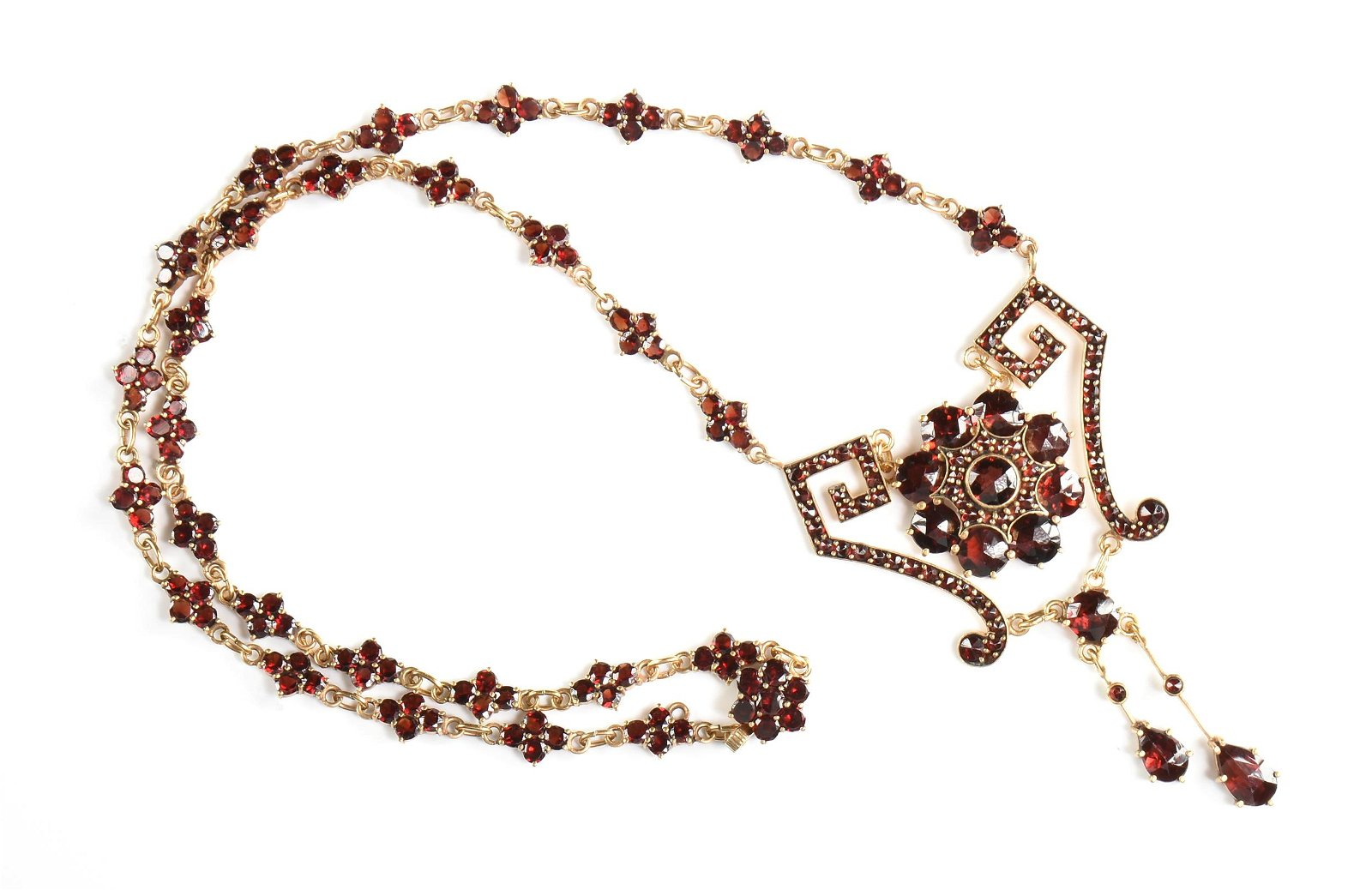A VICTORIAN STYLE VERMEIL AND GARNET ORNATE NECKLACE,