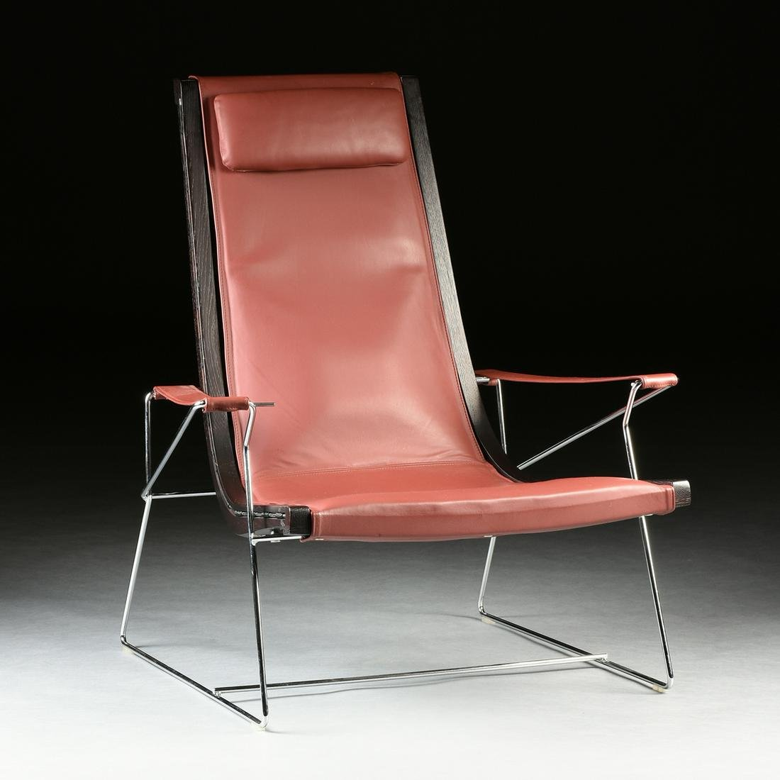 A CONTEMPORARY B&B ITALIA RED LEATHER, STAINED ASH AND