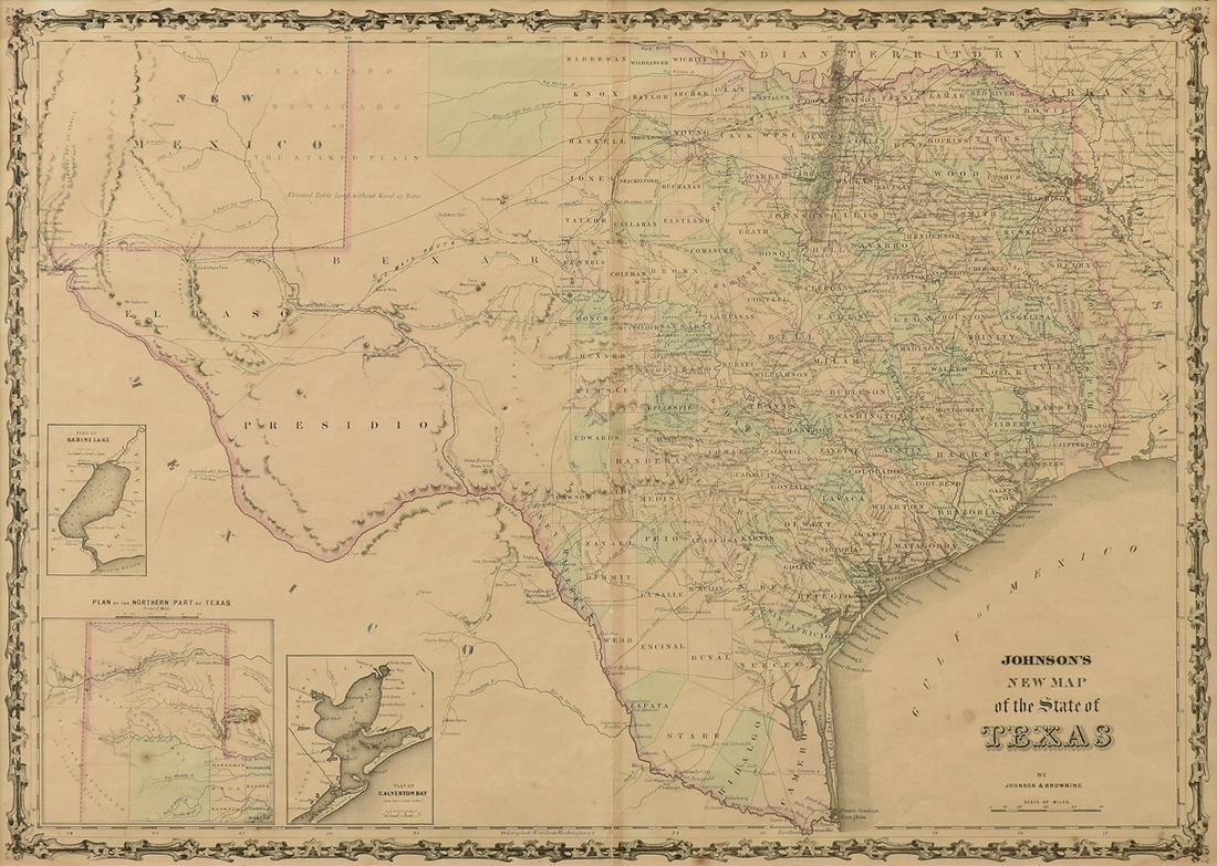 "AN AMERICAN CIVIL WAR ERA ANTIQUE MAP, ""Johnson's New"