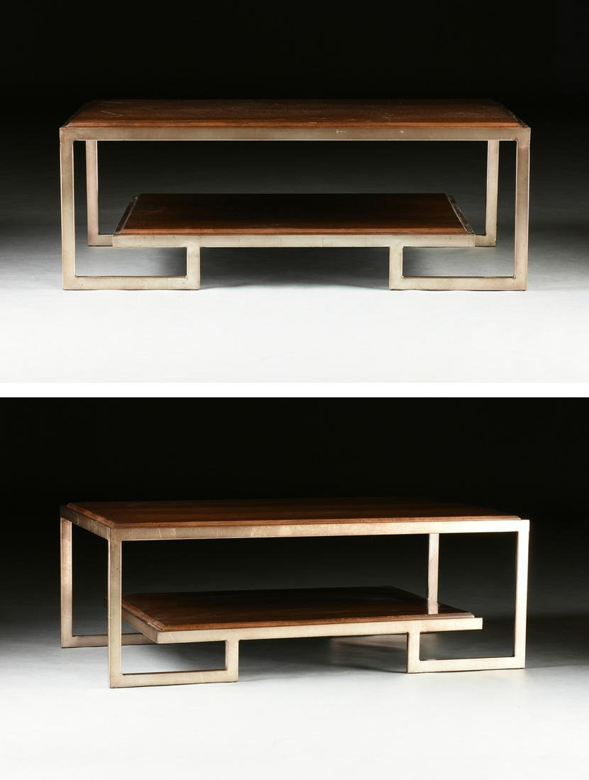 A PAIR OF CONTEMPORARY POLISHED OAK TOPPED AND SILVER