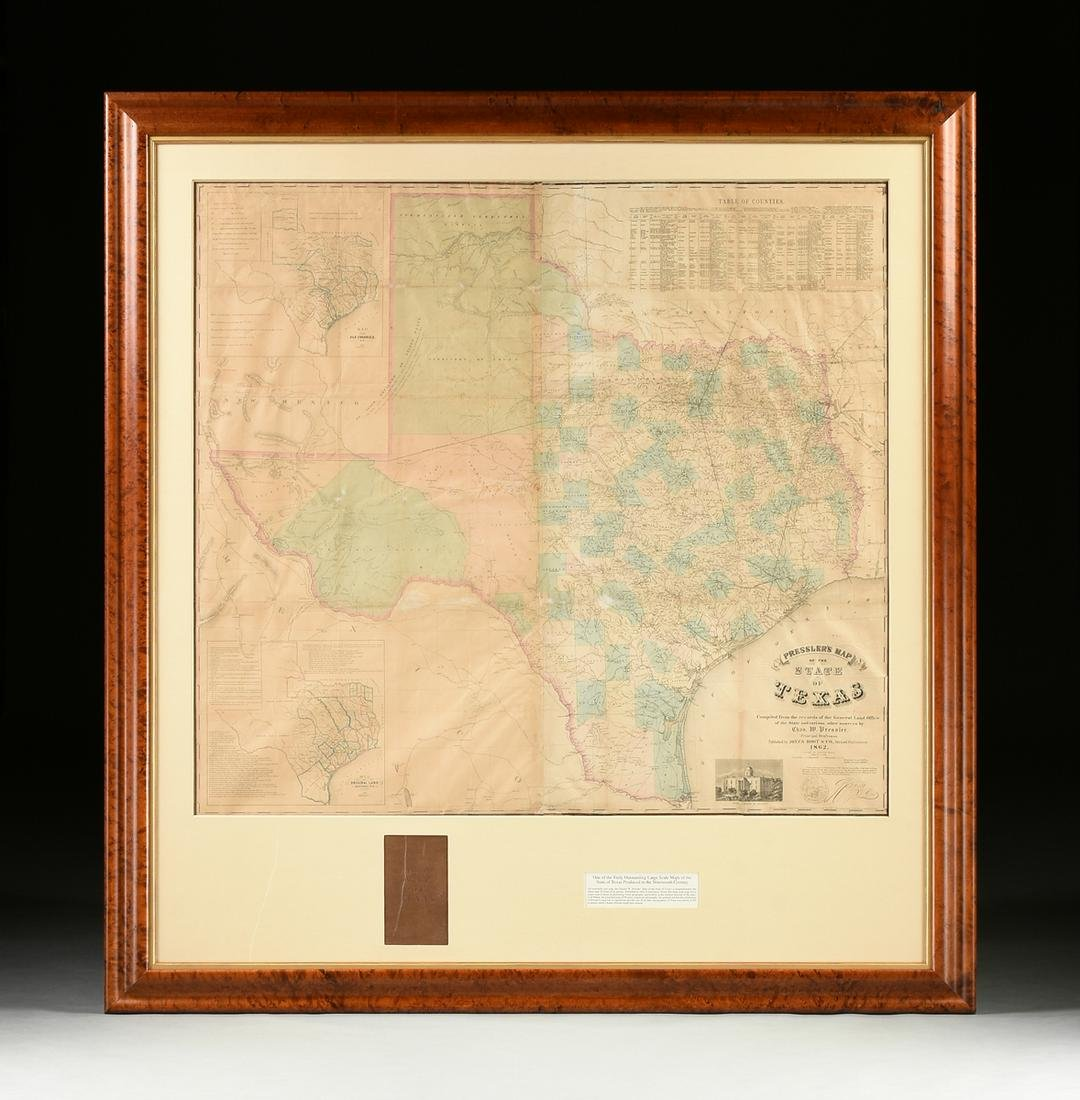 "A RARE ANTIQUE CIVIL WAR ERA MAP, ""Pressler's Map of"
