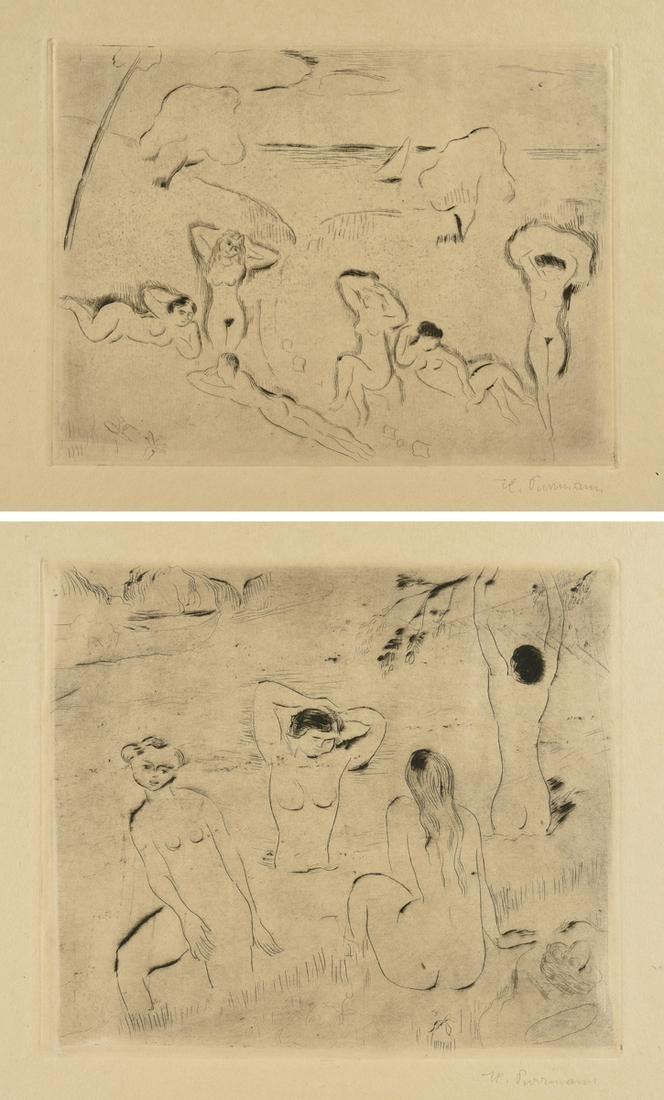 "HANS PURRMANN (German 1880-1966) TWO ETCHINGS, ""Vier"