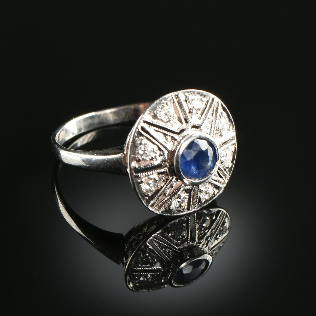 AN ART DECO STYLE 14K WHITE GOLD, SAPPHIRE, AND DIAMOND