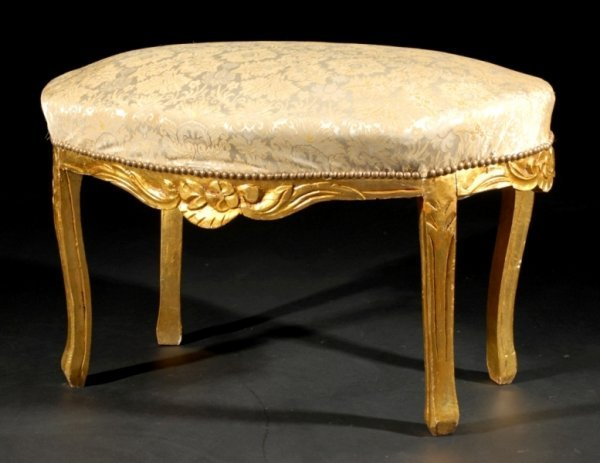 1: A LOUIS XV STYLE CARVED GILTWOOD BANQUETTE of oval s