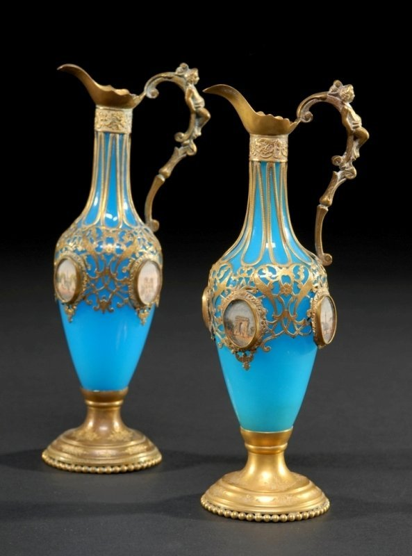12: A PAIR OF FRENCH ART GLASS AND GILT BRONZE EWERS,
