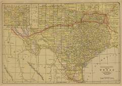 AN ANTIQUE MAP Railroad and County Map of Texas