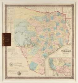 """AN ANTEBELLUM MAP, """"J. De Cordova's Map of the State of"""
