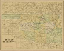 AN ANTIQUE MAP OF OKLAHOMA Indian Territory