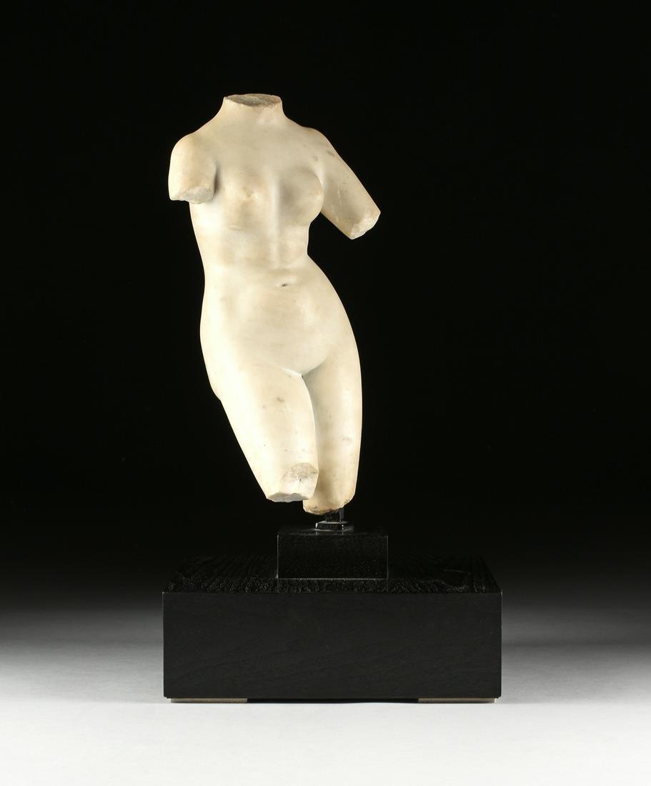 "A GRECO-ROMAN STYLE MARBLE SCULPTURE, ""Venus Pudica,"""