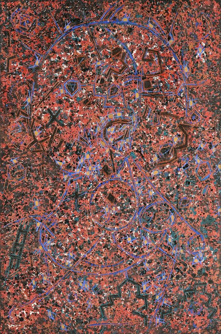"""LEE MULLICAN (American 1919-1998) A PAINTING, """"Untitled"""