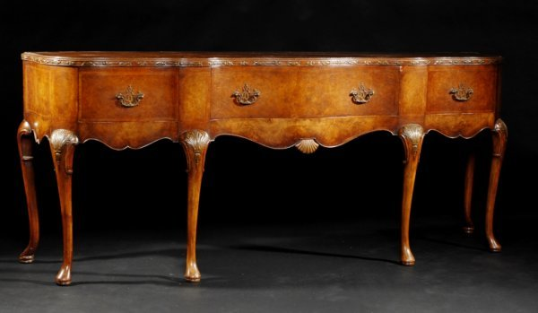 10: A QUEEN ANNE STYLE BURL WALNUT SIDEBOARD, the serpe