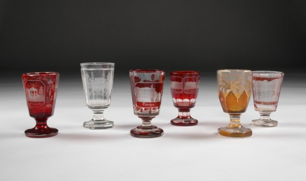 11: A COLLECTION OF 19TH CENTURY BOHEMIAN CUT GLASS SPA