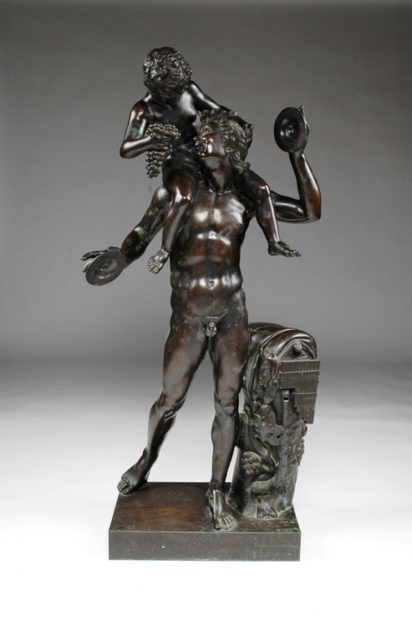 318: A CONTINENTAL BRONZE FIGURAL GROUP, dancing Satyr
