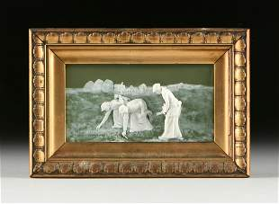 A GOEBEL WHITE ON SAGE GREEN JASPERWARE ART PLAQUE,