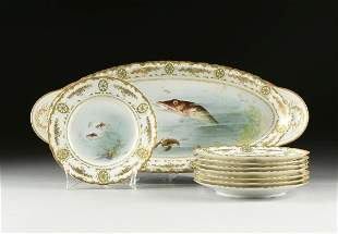 A NINE PIECE FISH PAINTED PORCELAIN SET, BY THEODORE