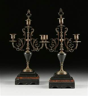 A PAIR OF BELLE EPOQUE BRONZE AND MARBLE THREE LIGHT