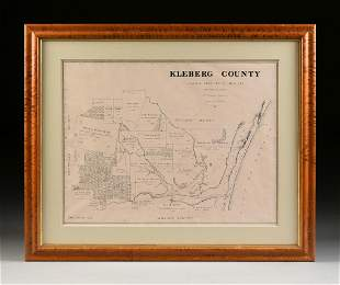 "A FACSIMILE CADASTRAL MAP, ""Kleberg County,"" EARLY 20TH"