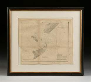 "AN ANTIQUE SURVEY MAP, ""U.S. Coast Survey: Galveston"