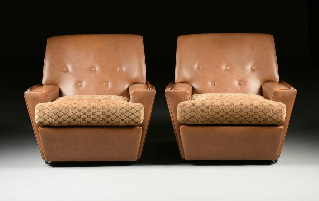 A PAIR OF ITALIAN MID-CENTURY MODERN FAUX LEATHER AND