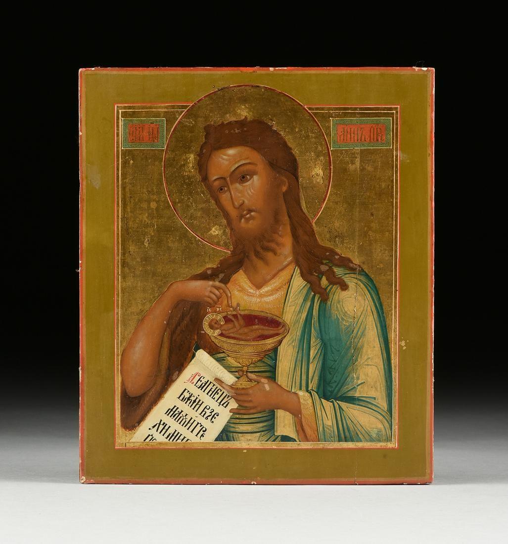 "A RUSSIAN ICON, ""St. John the Baptist,"" 20TH CENTURY,"