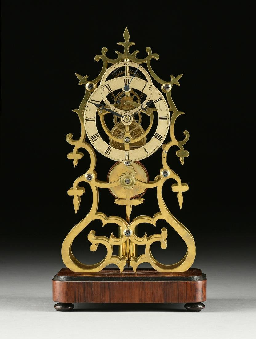 A DOUBLE RING DIAL BRASS SKELETON CLOCK, ENGLISH, 19TH
