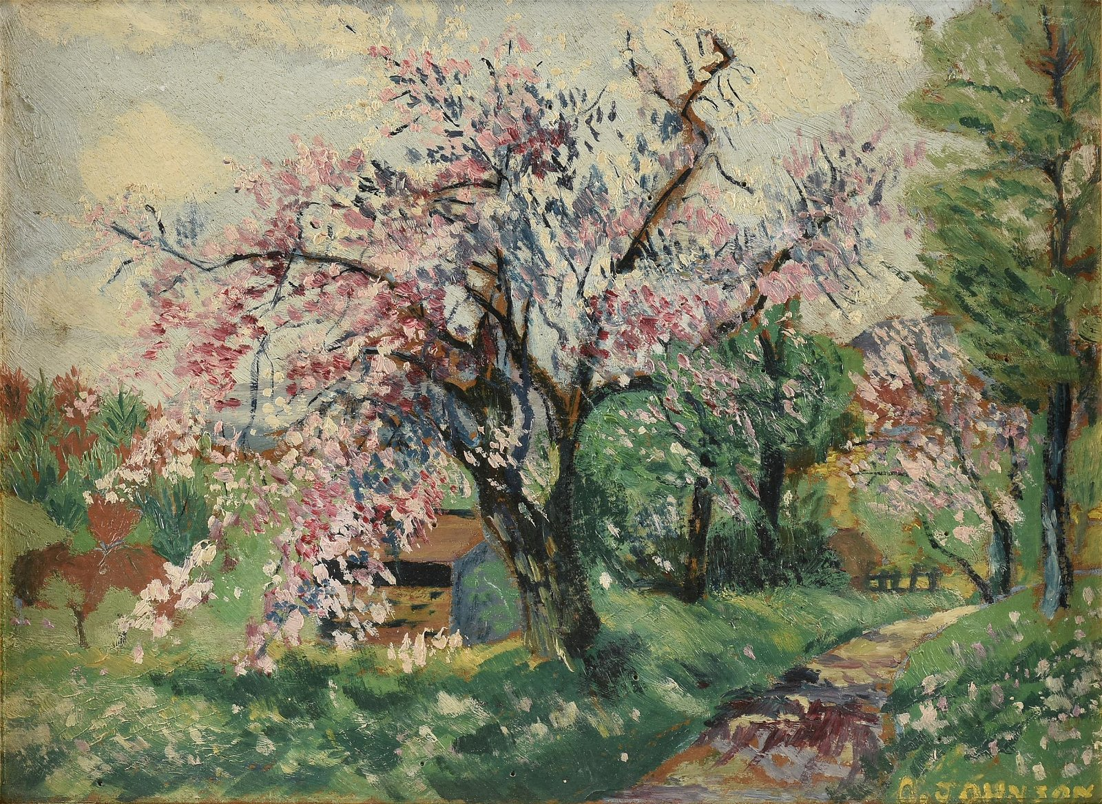 """CLARENCE JOHNSON (American 1894-1981) A PAINTING, """"Pink"""