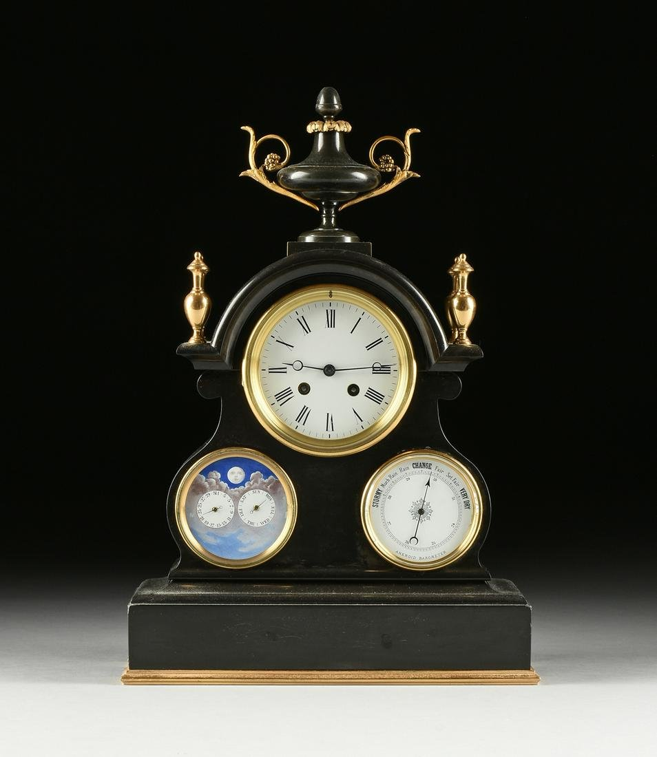 A VICTORIAN TRIPLE DIAL AND GILT BRASS MOUNTED POLISHED