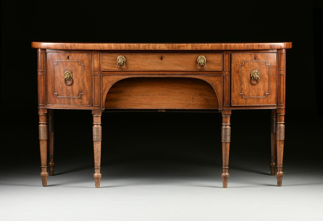 A REGENCY FLAME MAHOGANY INLAID SIDEBOARD, EARLY 19TH