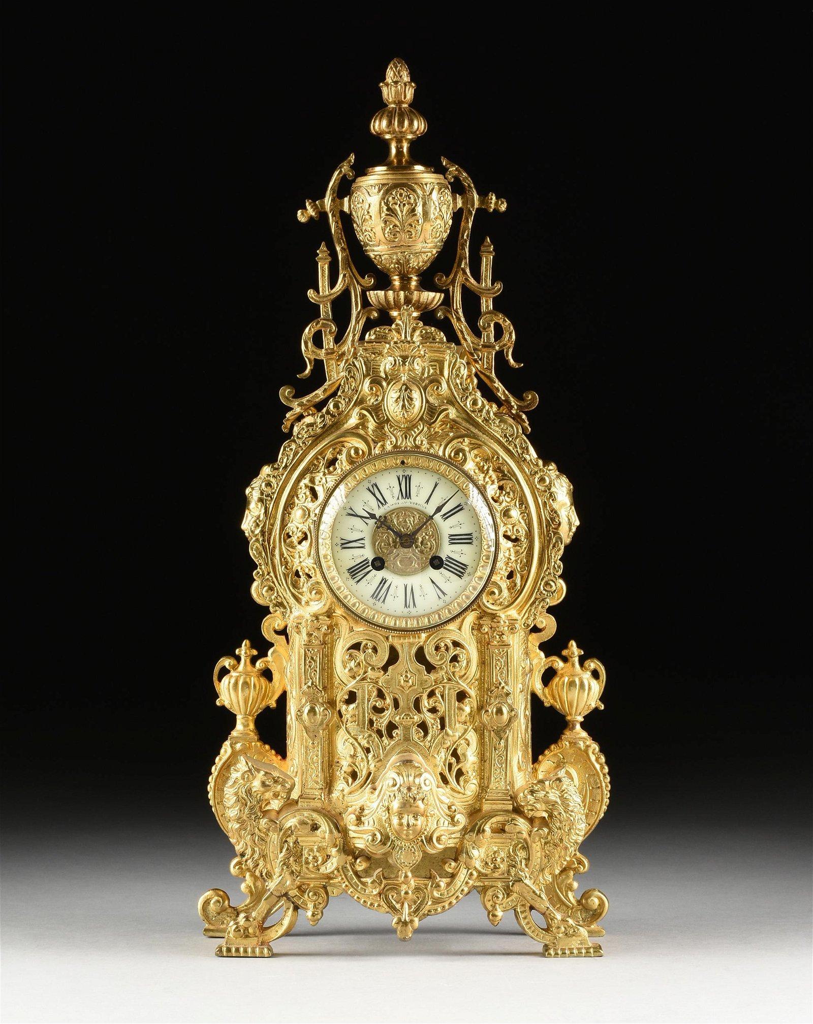 A FRENCH RENAISSANCE REVIVAL GILT BRONZE MANTLE CLOCK,