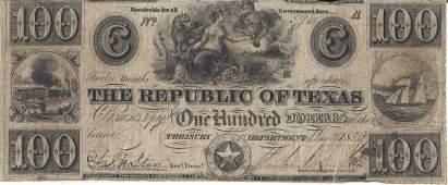 A REPUBLIC OF TEXAS 100 DOLLAR TREASURY BANK NOTE