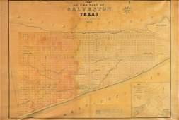 "AN ANTIQUE MAP, ""Plan of the City of Galveston Texas,"""