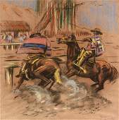 """CHARLIE DYE (American 1906-1972) A DRAWING, """"Rodeo,"""""""