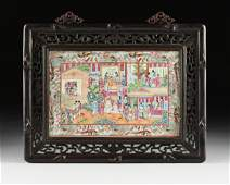 A CHINESE EXPORT ROSE MEDALLION PORCELAIN PLAQUE IN A