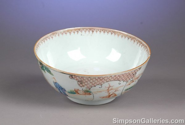 1002: A CHINESE FAMILLE ROSE PORCELAIN BOWL decorated w