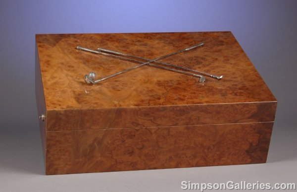 1021: A BURL WALNUT AND STERLING SILVER MOUNTED CIGAR H